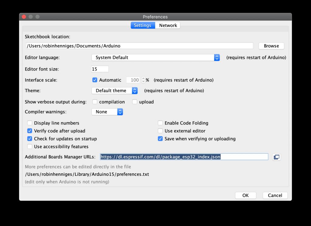 Arduino IDE Settings
