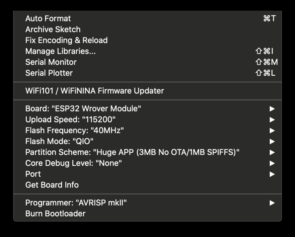 Arduino IDE ESP32 cam settings